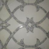 Mattonelle di pietra poco costose, mosaico di marmo di Carrara, mosaico Waterjet bianco