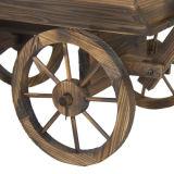 Soporte de madera del crisol del plantador de la flor del carro del jardín con las ruedas