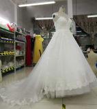 Vestido de casamento nupcial real da garganta elegante da ilusão da princesa alta qualidade