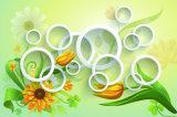 El diseño 3D de la flor blanca y del círculo impermeabiliza la pintura al óleo para el hogar