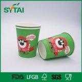 Único copo de papel verde da bebida quente do chá ou do café de China da venda por atacado da impressão de Flexo da vaca dos desenhos animados da parede