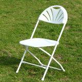 Silla de plegamiento gris del metal del marco del asiento blanco
