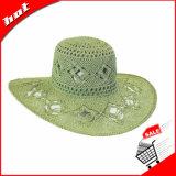 Chapéu de palha flexível do papel do chapéu da mulher de Sun