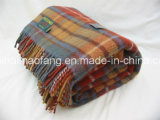 Plaid tecido Mixed 50%Wool&50%Acrylic Wool Blend Blankets& Throws