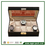 Doos van het Horloge van het Leer van de Luxe Pu van de douane de Zwarte Houten