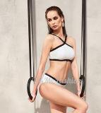 Swimsuits высокое Waisted Бикини планки Halter белые для сексуальных повелительниц