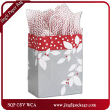 De zilveren Klanten van de Serenade springen de Bloemen Eenvoudige Witte Zakken van de Gift van het Document van Kraftpapier met Verdraaid Handvat op