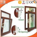Populärer Qualitätsthermischer Bruch-Aluminiumneigung u. rote Eichen-Holz-Korn-Fertigstellungs-Holz-Farbe des Drehung-Fenster-3D