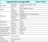Griglia-fuori tutta in un indicatore luminoso di via solare 40W