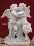 Beeldhouwwerk van de Engel van het Standbeeld van de Cherubijn van de steen het Marmeren Snijdende (sy-X002)