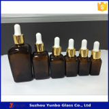 Brown Rectangle Square Glass Essential Oil Bottle Pacote de cosméticos 15ml 30ml 50ml 100ml