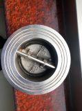 Tipo válvula da borboleta da bolacha do disco do dobro do aço inoxidável de verificação