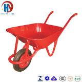 赤い金属の手押し車