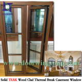 최상 단단한 티크 목제 알루미늄 경사 회전 Windows, 내부 오프닝 사려깊은 유리제 알루미늄 여닫이 창 Windows