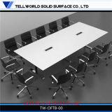 Верхняя часть u белого высокого лоска 8 персон самомоднейшая искусственная мраморный - форменный франтовская таблица конференции таблицы собрания членов управления с электронными гнездами