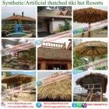 집이 초가지붕 Tiki 바 Tiki 인공적인 오두막 합성 지붕을 짚으로 인 초막에 의하여 지붕을 짚으로 이었다