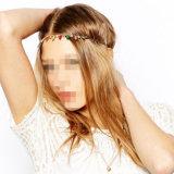 Полоса волос цвета конфеты акриловым кристаллический покрынная золотом цепная эластичная