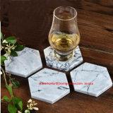 4의 6각형 대리석 돌 음료 연안 무역선 세트