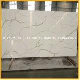 Pierre de marbre extérieure solide artificielle blanche de quartz de Calacatta pour la tuile/partie supérieure du comptoir