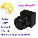Novo! tensão larga audio da câmera de cor +3.6-24V do CCTV do vídeo 480tvl de 170deg Fisheye mini (MC91AB18)