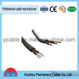 De PVC d'isolation de matériau jumeau à plat et câble électrique de la terre