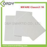 Cartão clássico branco do PVC MIFARE 1k 13.56MHz RFID