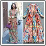 Втулки ворота женщины платье мантии модной круглой длинней длиннее