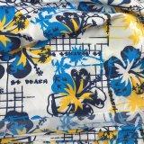 큰 꽃 Beachwear 셔츠 간결은 복숭아 폴리에스테 직물을 인쇄했다