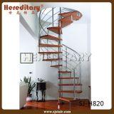 Escalera de madera del metal del espiral de interior/al aire libre del acero inoxidable (SJ-S039)