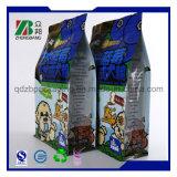 Sacchetto di plastica quadrato dell'alimento per animali domestici della parte inferiore piana con la chiusura lampo