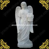 Мраморный ангел скульптуры для памятника кладбища