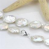 Conjunto verdadero de la perla de 20m m AA de la moneda diseño de agua dulce de la perla del último