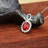 L'argento sterlina delle donne intarsia la collana rossa naturale del pendente del Chalcedony dell'agata