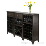 Gabinete de madeira moderno do Shelving do vinho com a cremalheira do vidro de vinho