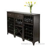 Gabinete de indicador de madeira do vinho da cremalheira da adega de vinho do Shelving com a cremalheira do vidro de vinho