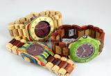 Horloge van de Manier van de douane het Met de hand gemaakte Houten met Houten Gezicht