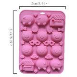 El molde material de la torta del silicón de la categoría alimenticia del certificado del nuevo producto FDA, tres pequeños cerdos formó el molde de la torta del silicón/el molde del chocolate