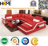 Sofá de cuero combinacional moderno con el respaldo ajustable, rojo (HC1074)