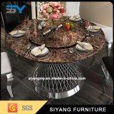 Круглый стол китайской мебели искусственний мраморный с 6 стулами