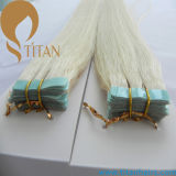 Silky Straight Light Blonde Color Skin Weft Tape Extensão do cabelo