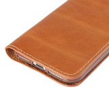 Крышка случая неподдельной кожи Brown на iPhone 7 7plus