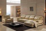Salle de séjour moderne L sofa de cuir de forme