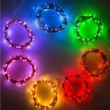 Cor verde da bateria decorativa de prata do AA da luz da corda do Natal do diodo emissor de luz do fio