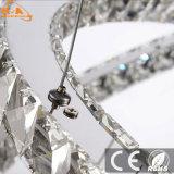 Lampadario a bracci a cristallo moderno del pendente LED dei tre anelli