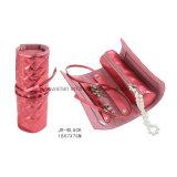 Rullo rotondo di cuoio rosso dei monili del cuoio del sacchetto di rullo dell'imballaggio dei monili di corsa di Shap