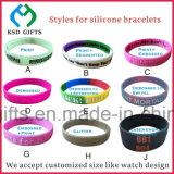 Wristband de goma modificado para requisitos particulares popular grabado de la impresión