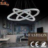 Hotel-Wohndrei Ring-hängende Lampen-Kristallleuchter-Licht