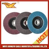 4 '' discos abrasivos de la solapa del óxido de la calcinación de la alta calidad (cubierta 22*14m m de la fibra de vidrio)