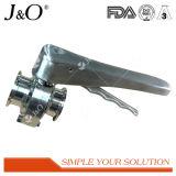 ステンレス鋼のハンドルが付いている最もよい普及した衛生溶接蝶弁