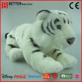 Tigre bourré réaliste de blanc de jouet de peluche d'ASTM